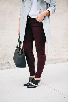 grey + burgundy + black