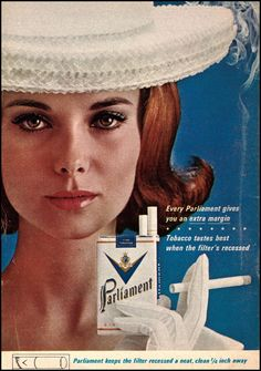 1963 Vintage Ad Parliament Cigarettes, Pretty Lady in White, Retro Cigarette Art…