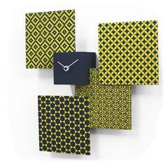 Beautifully stylish high-end modern grey and yellow wall mounted analog clock with multi-design layout.