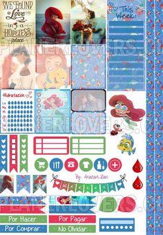 Ariel, La Sirenita – Stickers Imprimibles                                                                                                                                                                                 Más