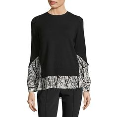 Yigal Azrouël Pleated Tree-Print Pullover (3 485 SEK) ❤ liked on Polyvore featuring tops, sweaters, pullover top, long sleeve tops, patterned tops, patterned sweater and mixed print top