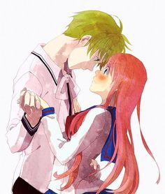 hot anime couple tight hug getting romantic looking in eyes love romance
