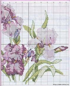 Cross stitch - flowers: Iris - cushion (chart - part 2)