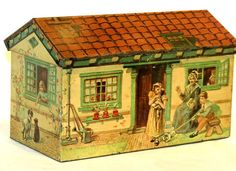 Figural Cottage House Shape Children Dog Biscuit Candy Tin 1920 | eBay