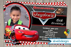 Disney Cars Birthday Invitation- Lightening McQueen Birthday invite