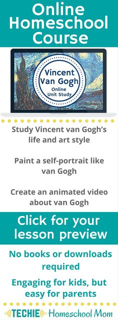 Meeting the Master Artists: Vincent van Gogh Unit Study Resources - Try the Vincent Van Gogh Online Unit Study. This online homeschool course integrates multiple subjects for multiple ages of students. Access websites and videos and complete digital projects.