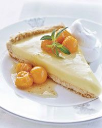 Lemon Verbena Tart with Cape Gooseberry Compote Recipe on Food & Wine Mary Dumont picks the lemon verbena for this fabulous, puckery tart from her kitchen garden, just outside her restaurant's back door. The cape gooseberries grow in the yard all summer l Gooseberry Recipes, Cape Gooseberry, Gooseberry Tart, Tart Recipes, Dessert Recipes, Desserts, Cherry Recipes, Sweet Recipes, Cookies