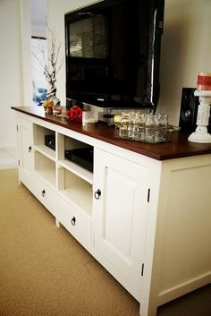 I have been looking for a French Provincial style TV unit for a while. Like nearly a year. Do you think I could find one that wasn't above $500? Nope, it was impossible. I fell in love with this TV unit at Everyday Living but it was about $550, and my budget was about $350 so it was ou