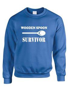 Adult Sweatshirt Wooden Spoon Survivor Humor Text Funny Top