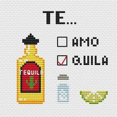 This listing includes 4 cross stitch patterns: Beer, Whiskey, Tequila, Vodka. Collect all minibar! 4 cross stitch Valentine cards. Express your love!  *** Pizza and Beer Fabric: 14 count Stitches: 68 x 51 Size: 4.86 x 3.64 inches or 12.34 x 9.25 cm You can purchase it separetley