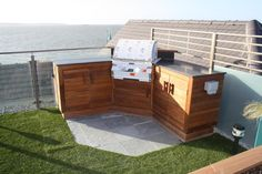 Great use of granite offcuts for a summer BBQ area