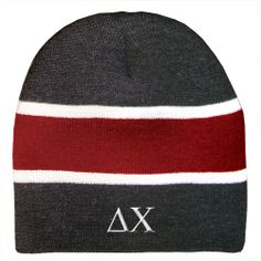 Delta Chi Charcoal and Red Beanie