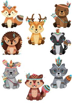 Discover recipes, home ideas, style inspiration and other ideas to try. Tribal Baby Shower, Baby Boy Shower, Tribal Animals, Cute Animals, Cute Animal Drawings, Cute Drawings, Baby Motiv, Fuchs Tattoo, Relaxing Art