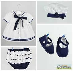 Baby Girl Outfit - Baby Girl Sailor dress with navy blue polka dots, baby diaper cover, beret and baby booties - Also Available in red