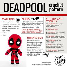 Deadpool Crochet Pattern Descarga Instantánea por RoseberryArts