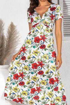 Vintage Floral Print Maxi Dress Women Boho Short Sleeve Long Dress Cross Ruched V Neck Ladies Elegant A-Line Dresses Floral Print Maxi Dress, Boho Dress, Long Sleeve Short Dress, Vintage Floral, Sleeve Styles, Boho Shorts, Floral Prints, Elegant, Lady