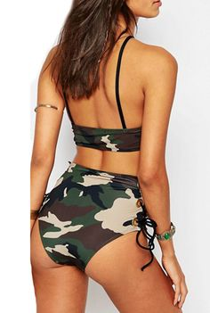 We'll be at the beach from dusk to dawn. This swimsuit features camo print, side lace-up, two piece. More surprise at AZBRO.com