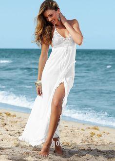 Новый бохо сексуальные женщины кружева крючком холтер длиной макси прикрыть макси пляж щелевая платья купить на AliExpress