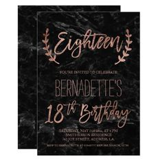 Rose Gold Feathers Black Marble 18th Birthday Card 16th Invites Invitation