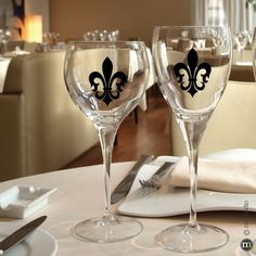 CLING | St. Charles Fleur De Lis Decal | glass, glassware, wine, votive, laptop, ornaments, photo frame, mirrors, tumbler, plastic, metal buckets, candle, candle holders, plastic chair, small vinyl and chalkboard decals wedding and party favors