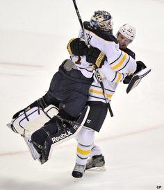 Hug me brothaa -Buffalo Sabres  Looks like Kaleta and Enroth
