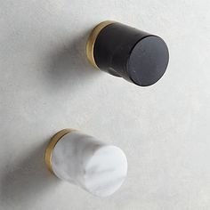 Black Marble Notched Cylinder Knob + Reviews | CB2
