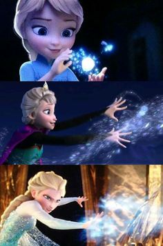 Elsa went from using her powers for fun, to using them to protect herself.