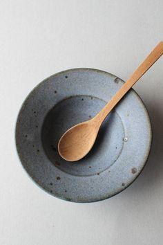 matt glazed speckled blue rimmed small bowl kohiki