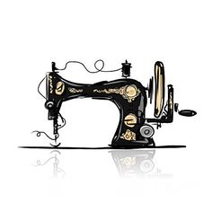 Illustration about Sewing machine retro sketch for your design, vector illustration. Illustration of cartoon, cute, pattern - 47613026 Sewing Art, Sewing Rooms, Love Sewing, Sewing Patterns, Sewing Machine Tattoo, Sewing Machine Drawing, Quilting Tools, Vintage Sewing Machines, Carte De Visite