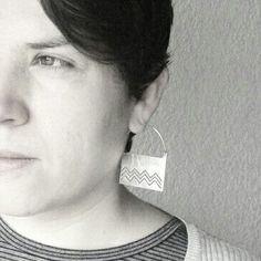 Mapuche silver earrings,  earrings large, rectangular design.