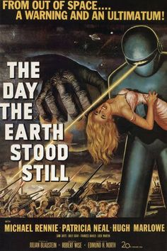 """The Day The Earth Stood Still (1951) Classic Sci-Fi with a message: """"When a UFO lands in Washington, D.C. bearing a message for Earth's leaders, all of humanity stands still. Klaatu (Michael Rennie) has come on behalf of alien life who have been watching Cold War-era nuclear proliferation on Earth. But it is Klaatu's soft-spoken robot Gort that presents a more immediate threat to onlookers. A single mother (Patricia Neal) and her son teach the world about peace and tolerance in this moral…"""