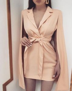 Solid Knotted Cape Sleeve Blazer Dress - - Nude twist front tie waist cape sleeve mini blazer dress cute girly baddie night out outfit Source by Beccachronicles Elegant Dresses, Sexy Dresses, Dress Outfits, Fashion Outfits, Womens Fashion, Blazer Outfits, Style Fashion, 1950s Dresses, Casual Blazer