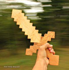 Minecraft Game Sword Wooden Toy Sword Computer by FunnyFarmToyBarn