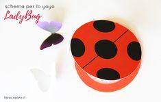 Come fare lo yoyo di Lady bug in carta- Free template da stampare del miraculus con farfalle..