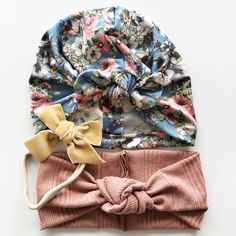 Handmade floral baby bow hat and 2 headbands- perfect for that little lady in your life. Turbans for Tots sets are listed at 15% off the individual price of the items and are made to order so they are not ready to ship. Set includes a baby turban hat, delicate velvet ribbon bow on a