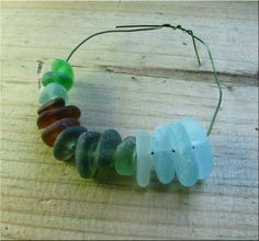 14 Natural sea glass beads, middle drilled, supplies (25) £9.10