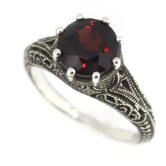 Antique Finish Filigree Sterling Silver Round Cut Natural Mozambique Garnet Ring (2.5 CT.T.W) BL Jewelry,http://www.amazon.com/dp/B00GEBDZMY/ref=cm_sw_r_pi_dp_uNCxtb140JFNHYFK