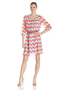 AGB Womens Pleated Neck Dress with Elbow Sleeve Multi 12 *** Details can be found by clicking on the image.(This is an Amazon affiliate link)