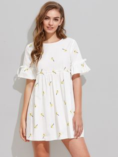 SheIn offers Dandelion Embroidered Frilled Fluted Sleeve Babydoll Dress & more to fit your fashionable needs. Casual Summer Dresses, Simple Dresses, Day Dresses, Dress Outfits, Fashion Outfits, Tunic Dresses, Dress Summer, Prom Dress Shopping, Online Dress Shopping