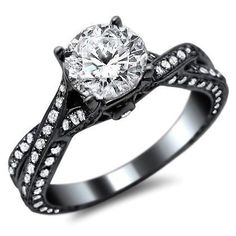 round diamond pave engagement ring 14k in black gold this new certified 178ct diamond - Wedding Rings Black