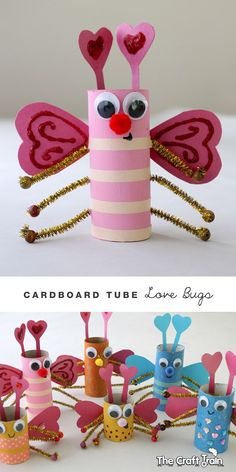 Carboard Tube Love Bugs by carlene Valentine's Day Crafts For Kids, Valentine Crafts For Kids, Animal Crafts For Kids, Toddler Crafts, Holiday Crafts, Fun Crafts, Art For Kids, Toilet Paper Roll Crafts, Diy And Crafts Sewing