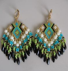 SALE  Seed Bead Earrings  Turquoise/Chartreuse  by pattimacs