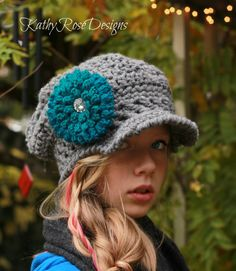 crochet chunky slouchy newsboy hat with teal blue flower ~bling~ custom 3-10 or adult by KathyRoseDesigns on Etsy