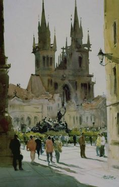 "Robert Wade  ""Prague, Mala Strana"" 19""x14"" Painted 1996 One of the World's most paintable cities...a favourite painting place."