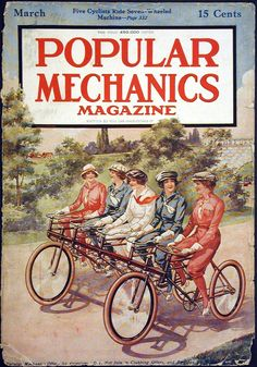 """March, 1916, POPULAR MECHANICS COVER, Bicycle Related Illustration Titled: """"Five Cyclists Ride Seven Wheeled Machine."""""""
