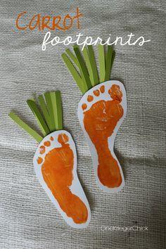 Spring Handprint Art {Bunny and Carrots} via One Krieger Chick   #kidscraft #easter #spring