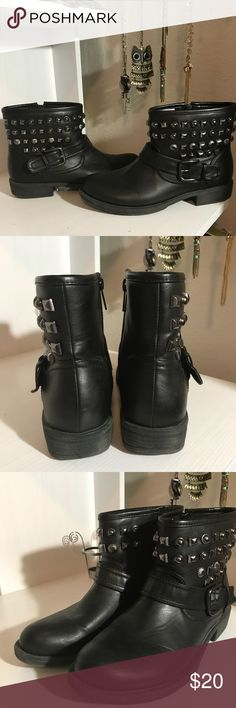 Black studded ankle boots with cross over buckle Black studded ankle boots with cross over buckle Shoes Ankle Boots & Booties