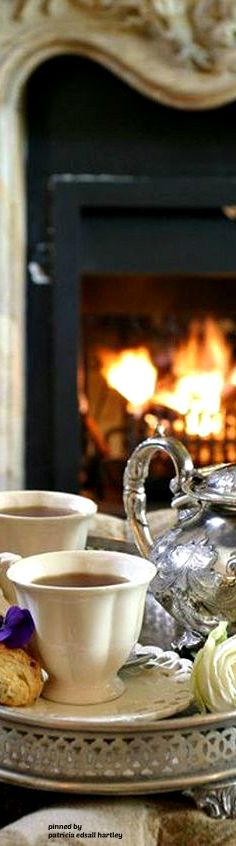 Afternoon tea by the fire at the cottage