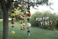 Pom Pom Flower Vines for DIY Wedding decor Do It Yourself Wedding, Do It Yourself Home, Wedding Pom Poms, Wedding Tissues, Tissue Pom Poms, Tulle Poms, Tulle Tutu, Festa Party, Flower Garlands