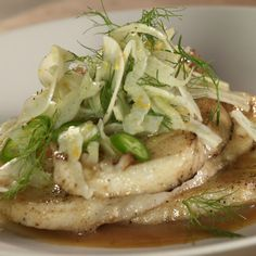 Sea Bass with shaved Fennel and Cider Reduction Marcus shows you how to make Seared Sea Bass with a Citrus Fennel Salad.Marcus shows you how to make Seared Sea Bass with a Citrus Fennel Salad. Fennel Recipes, Hcg Recipes, Fish Recipes, Seafood Recipes, Salad Recipes, Cooking Recipes, Healthy Recipes, Cooking Ideas, Fish Dishes